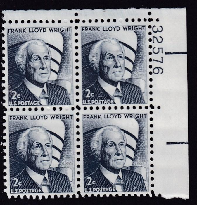United States 1965 Plate Number Block Scott 1280 Frank Lloyd Wright   VF/NH