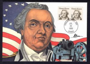 US 1851 Henry Knox Fleetwood Unicover Maxi Card U/A FDC