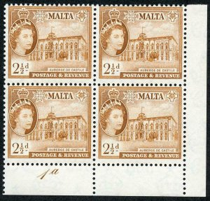 Malta SG271 2 1/2d Orange Brown Plate 1a U/M Block (tiny natural inclusion)