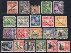 MALTA — SCOTT 208-222, 235-240 (SG 234-248) — 1948-53 KGVI OVPTS — MH — SCV $97
