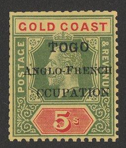 TOGO - BRITISH OCCUPATION : 1915 Accra KGV 5/-, variety 'CCUPATION'.