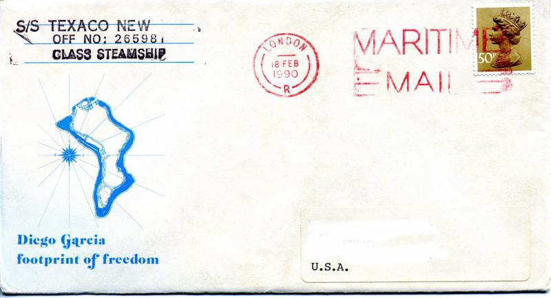 1990 Maritime Mail Diego Garcia London USA Mail From SS Texaco New York