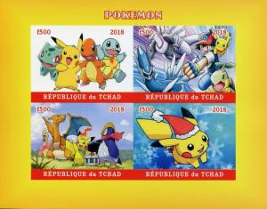 Chad 2018 MNH Pokemon Squirtle Pikachu Charmander Bulbasaur 4v IMPF M/S Stamps