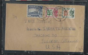 ZANZIBAR  (PP2608B)  1958   5C+10C+20C        COVER TO  USA
