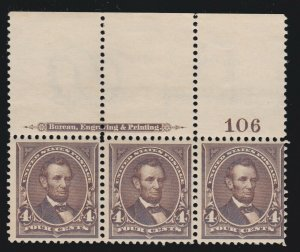 US 269 4c Lincoln Mint Full Top Plate # Strip of 3 F-VF OG NH SCV $450 (001)