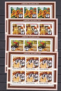 Guinea Bissau, 2003 issue. Dogs & Scout B. Powell on 4 IMPERF sheet of 6.