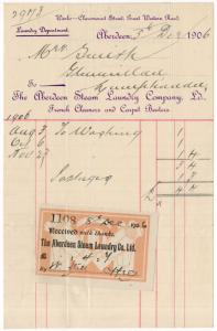 (I.B) Edward VII Revenue : Receipt Note (Aberdeen Steam Laundry)