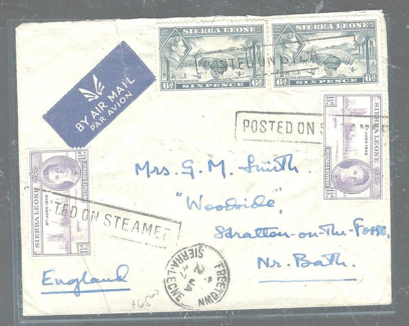 SIERRA LEONE (P3005B) 1947 PEACE 1 1/2DX2+  KGVI 6DX2 POSTED ON STEAMER TO ENGLA
