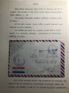 1956 Yugoslavia Government In Egypt Airmail Cover To Zagreb Via Belgrade