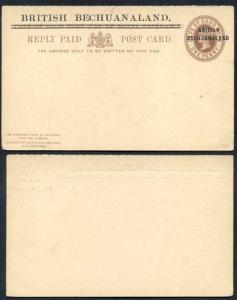 British Bechuanaland O/P on Cape of Good Hope QV 1d Brown Foreign Reply Card Mi
