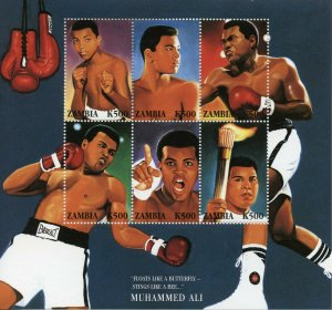 Zambia Boxing Stamps 1998 MNH Muhammad Ali Famous People Sports 6v M/S