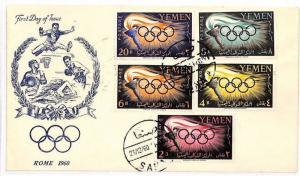 AJ82 1960 Yemen Rome FDI Olympic Stamps Cover {samwells-covers}
