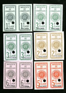 Colombia Stamps Rare specimen set of 6 in imperf pairs