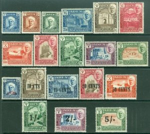 EDW1949SELL : ADEN Shihr 1942-51 Scott #1-11 VF MOG VLH, 20-27. VF, MNH. Cat $93