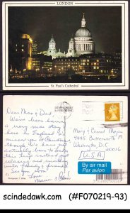 GREAT BRITAIN - 1994 ST PAUL'S CATHEDRAL LONDON PICTURE POSTCARD TO USA