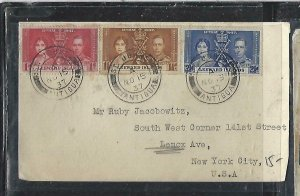 LEEWARD ISLANDS  (P2808BB)  1937 KGVI CORONATION COVER FROM ST JOHNS TO USA