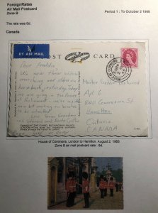 1963 House Of Commons London England Picture Postcard Cover To Hamilton Canada