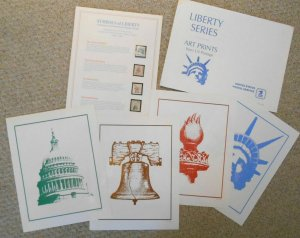 1986 Americana issues art prints 8.5 X 11 poster pages with mint stamps