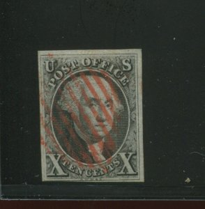 Scott 2 Washington Imperf  Used Stamp with 10 Bar Red Cancel (STOCK 2-A3)