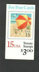 BK170 Beach Umbrella Booklet Of 20 Mint/nh Selling @ Face FREE SHIPPING