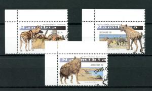 Namibia 2016 CTO Large Canines 3v Set Hyenas Wild Dogs Wild Animals Stamps