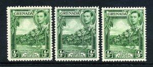 Grenada 1938 ½d p12½ both shades & p12½x13½ yellow-green SG 153, 153a, 153b mint