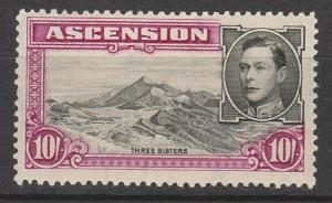 ASCENSION 1938 KGVI THREE SISTERS 10/- PERF 13.5