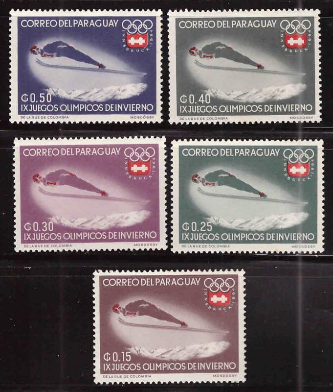 Paraguay Scott 783-787 MH* Winter Olympic ski stamps