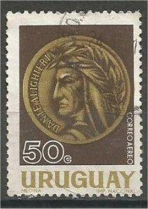 URUGUAY, 1966, used 50c , Dante Alighieri. Scott C300