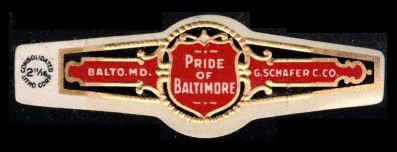 PRIDE OF BALTIMORE, OLD CIGAR BAND UNUSED, TOBACCO CINDERELLA SEE SCAN (V786)