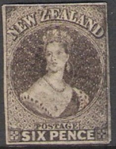 New Zealand 1862  Chalon 6d  The 1st Anniversary of the printing of John Davies