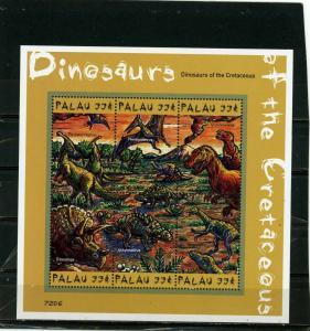 PALAU 2000 Sc#575 PREHISTORICAL ANIMALS/DINOSAURS SHEET OF 6 STAMPS MNH