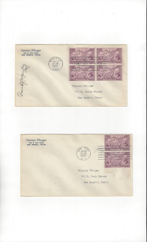 US Ordinance of 1787  #795 FDC Block of 4 & Block of 2, One Signed by Postmaster