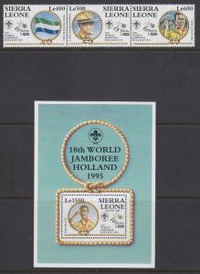 Sierra Leone Sc 1809-1810 MNH. 1995 Boy Scout Jamboree, Strip/3 + Souv Sheet