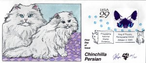 Pugh Designed/Painted Chinchilla Persian Cat FDC...89 of 121 created!