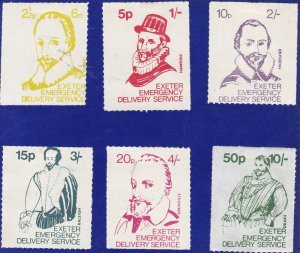 GB282) 1971 Postal Strike Exeter Emergency Delivery Service, Set of 6