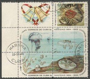 CUBA, 1964, CTO 3c, Block of 5 + label, Coral, Scott 921a