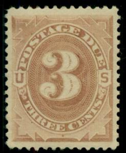 US #J3 3¢ brown Postage Due, fresh og and XLH, XF, great stamp