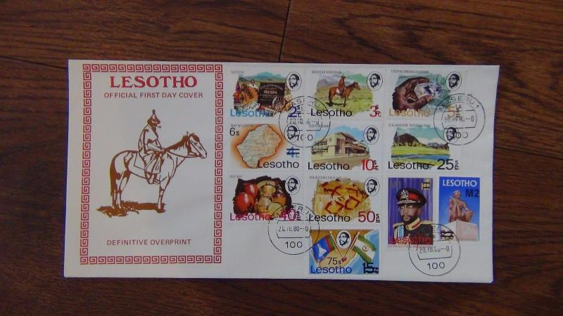 Lesotho 1980 Definitive set on First Day Cover complete to M2 on R2