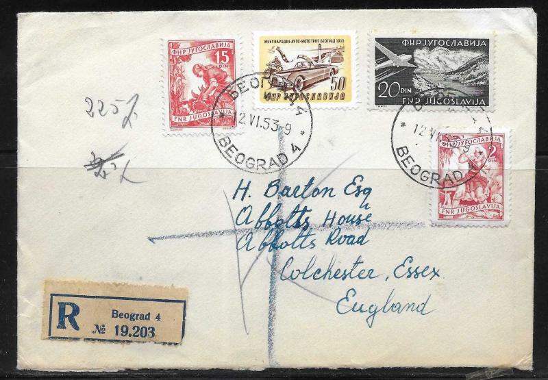 Yugoslavia 1953 Registered cover Belgrade to England