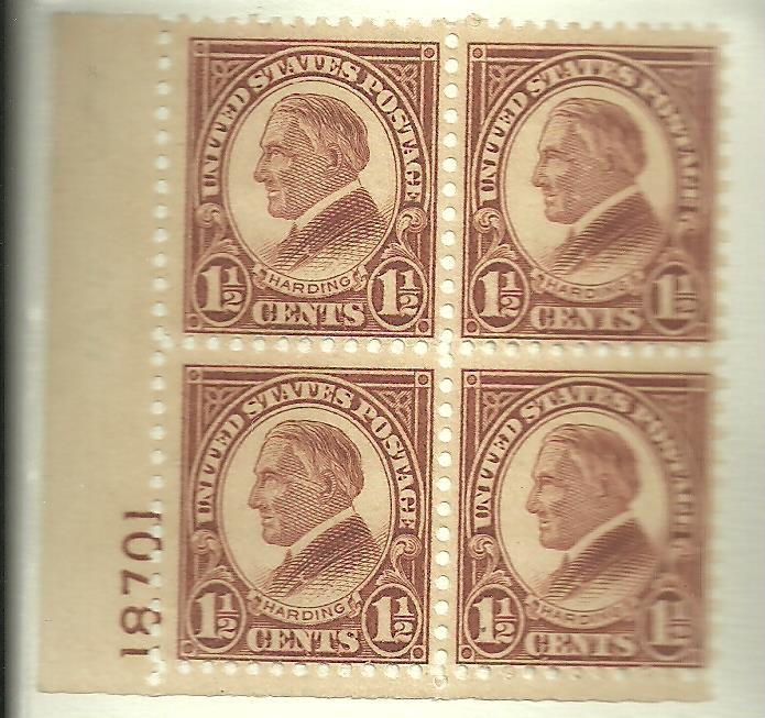 #633 Warren G Harding Plate Block Mint LH #18701