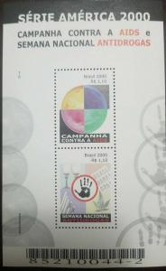 O) 2000 BRAZIL, CAMPAIGN AGAINST AIDS NATIONAL ANTI DRUG WEEK SCT 2755, MNH