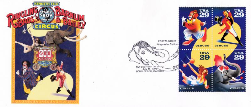 U.S. 1993 Circus Issue on Color cachet Cover Illustrated cancel shows Elephant