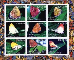 Turkmenistan 2000 Butterflies Shlt (9) Imperf.MNH VF