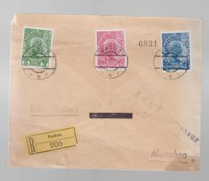 1915 Vaduz Lichtenstein registered cover to Munich German Comp Set # 1-3 KUK