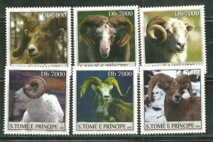 St. Thomas & Prince Islands MNH 1527A-F RAMS Mammals SCV 8.00
