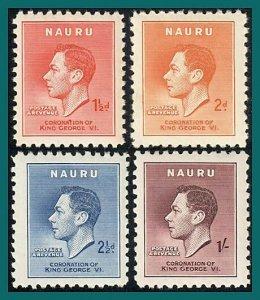 Nauru 1937 Coronation KGVI, MNH #35-38,SG44-SG47