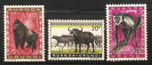 Ruanda Urundi Unused Set of 3 - Gorilla, Oxen, Monkey