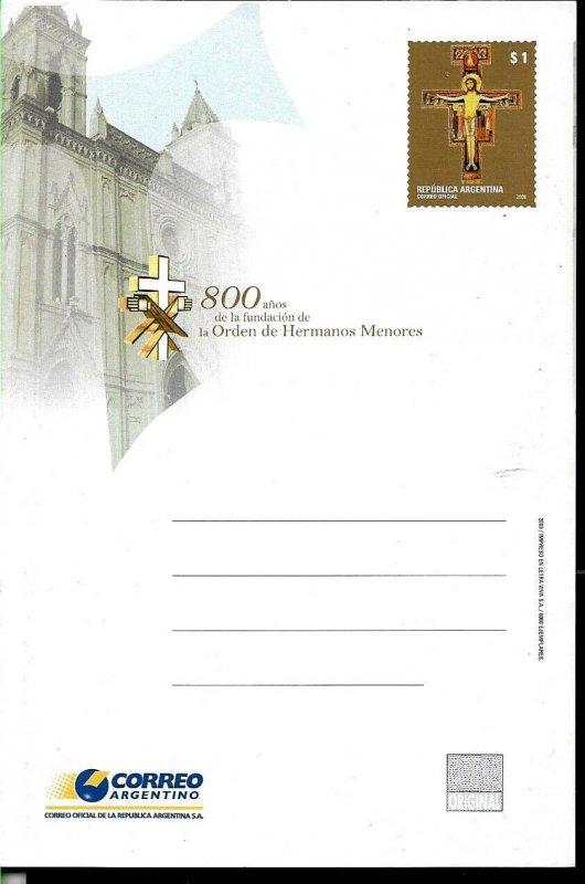 PS-207 ARGENTINA 2009 P STATIONARY RELIGION CATOLIC ORDER UNUSED