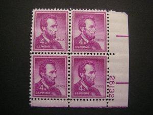 Scott 1036a, 4c Abraham Lincoln, PB4 #26132 LR, MNH Liberty Beauty